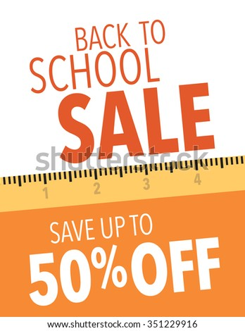 Back to school sale save up to 50% off poster - stock vector