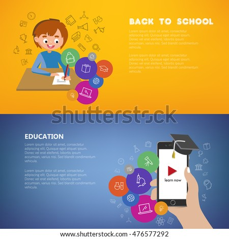 Back to School sales poster with happy male kid character and icons. Online learning with mobile video tutorials poster with hand holding phone and graduation hat. Colorful and splitted vector design.