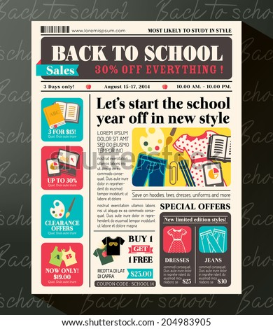 Back School Sales Promotional Design Template Stock Photo Photo