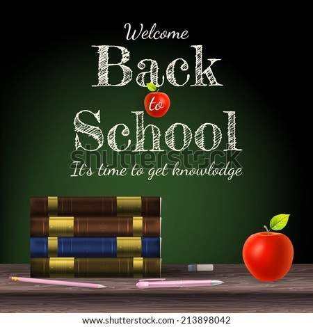 Back to school, school books with apple on desk. EPS 10 vector file included