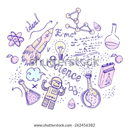 Back to School: science lab objects doodle vintage style sketchy composition, vector illustration isolated on white.  - stock vector