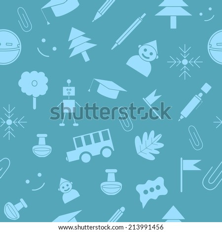 Back to school seamless pattern. Education icons set, isolated elements, vector illustration. - stock vector