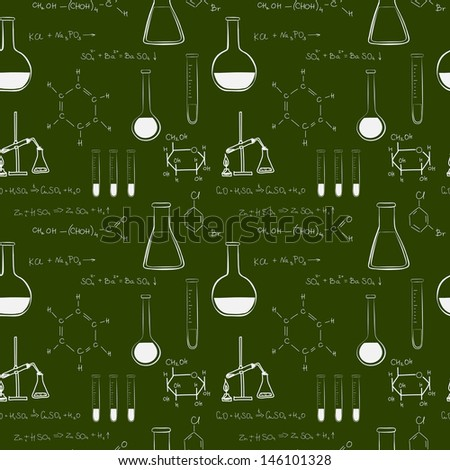 Back to school seamless pattern. Notebook doodles with chemical formulas, flasks and chemical reagents on chalkboard background. Hand drawn illustration.