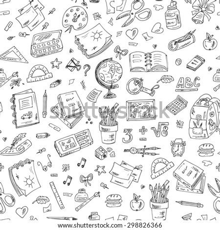 Back to school. Seamless pattern of school supplies. Hand Drawn Doodles illustration
