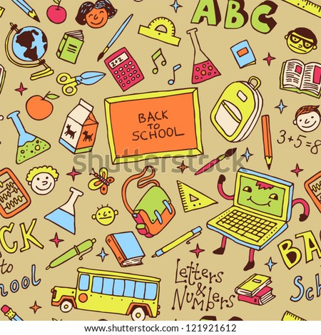 Back to school. Seamless pattern. Vector illustration.