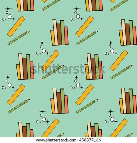 Back to school seamless pattern - vector illustration. For scrapbooking, web, print. - stock vector