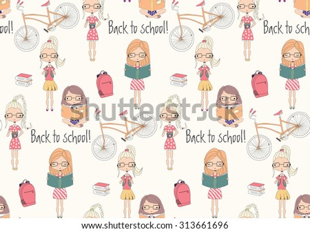 Back to school seamless pattern with school girls, bicycle and books, vector illustration - stock vector