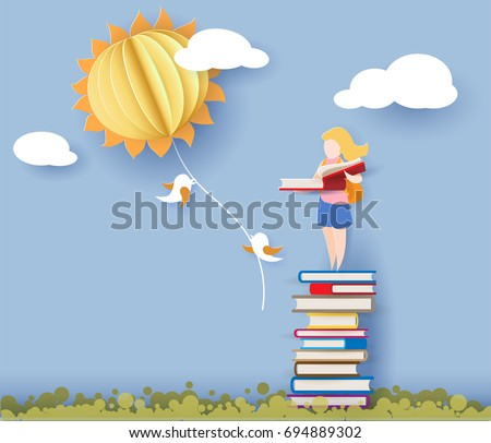 Back to school 1 september card with girl reading book and standing on stack of books. Vector illustration. Paper cut and craft style.