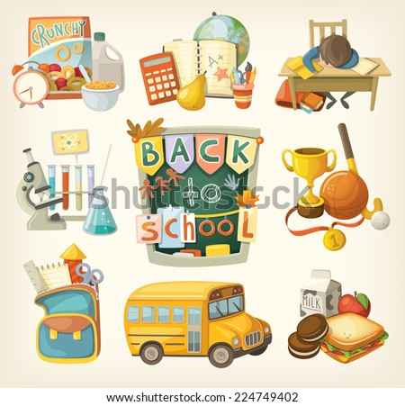 Back to school set. Elements of every day of study. - stock vector