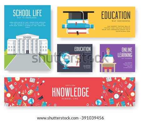 Back to school set of cards illustrations concept. Education school icons. Education school posters. Education school banners. Education school flyer. Flat education school elements with typography. - stock vector