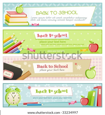 back to school - set of four pastel-colored banners