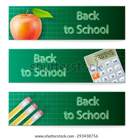 Back to school - set of horizontal banners - stock vector