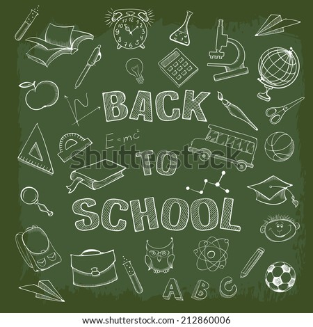 Back to school. Set of pen sketch icons - stock vector