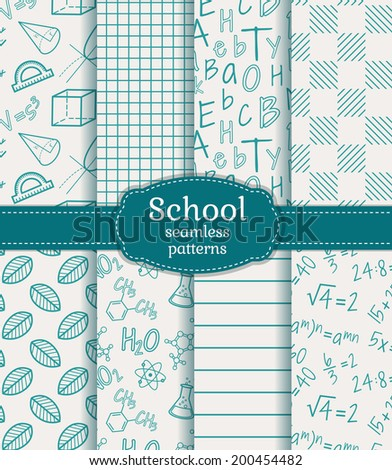 Back to school. Set of school and science seamless patterns in white and  blue colors. Vector illustration. - stock vector