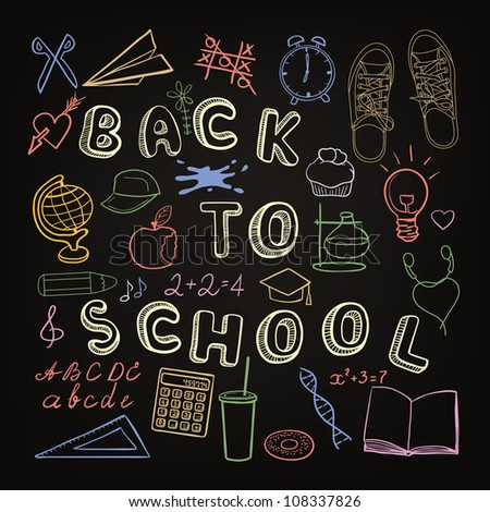 Back to school - set of school doodle symbols on the black chalkboard - stock vector