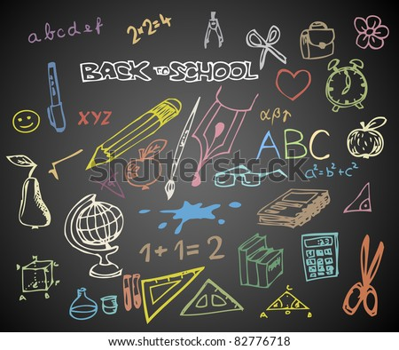 Back to school - set of school doodle vector illustrations on blackboard - stock vector