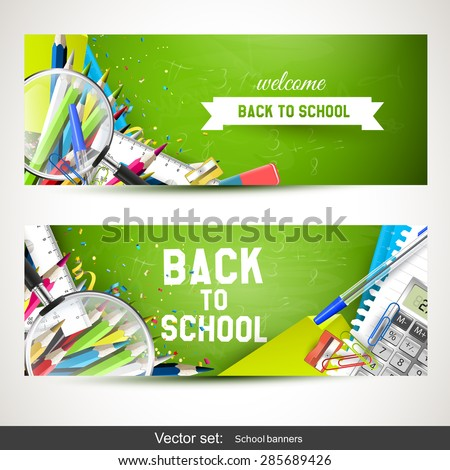 Back To School - Set of two horizontal banners with school supplies - stock vector
