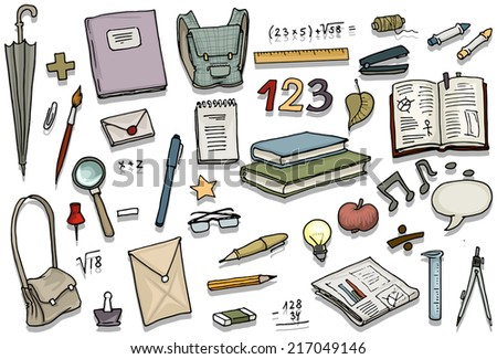 Back to school, set of various items, education, vector illustration - stock vector