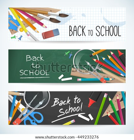 Back to school. Set vector banners with school supplies as pencil, ruler, brush, chalkboard and other. Isolated from background.
