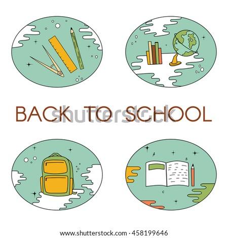 Back to school set - vector illustration. For logo, web, print. - stock vector