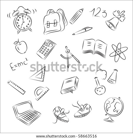 Back to School Sketch Collection - stock vector