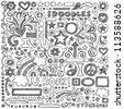 Back to School Sketchy Notebook Doodles with Flowers, Shapes, Hearts, Stars, Arrows and More- Hand-Drawn Vector Illustration Design Elements on Lined Sketchbook Paper Background - stock