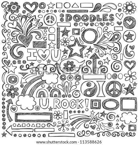 Back to School Sketchy Notebook Doodles with Flowers, Shapes, Hearts, Stars, Arrows and More- Hand-Drawn Vector Illustration Design Elements on Lined Sketchbook Paper Background - stock vector