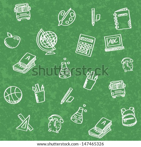 Back to school - sketchy seamless background - stock vector