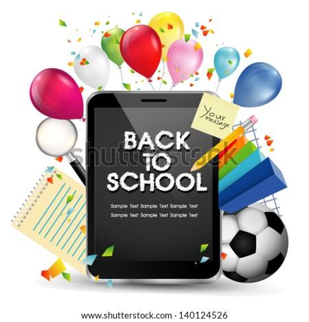 back to school  smart phone concept - stock vector