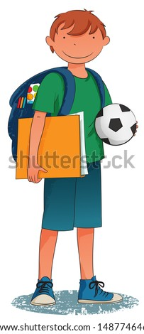 Back to School - smiling boy with backpack and ball