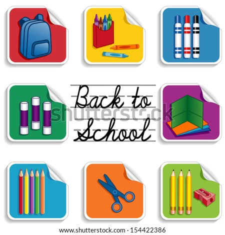 Back to School Stickers. Backpack, apple for the teacher, glue sticks, folders, colored pencils, sharpener; markers, crayons, scissors. For preschool, daycare, arts, crafts, literacy  projects. EPS8. - stock vector