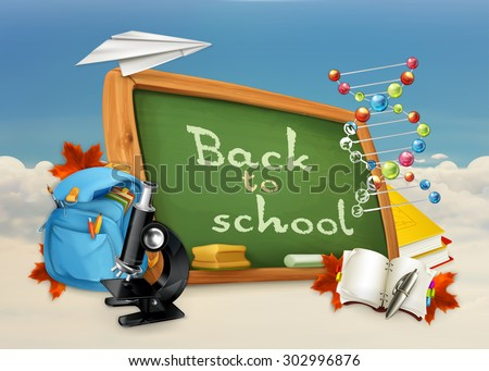 Back to school, studying and teaching, education and knowledge, vector illustration on white and blue background - stock vector