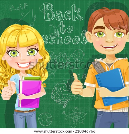 Back to school - Teenage boy and girl  with books at the blackboard - stock vector