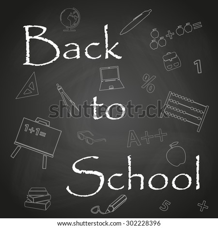Back to School text on black chalkboard background eps10 - stock vector