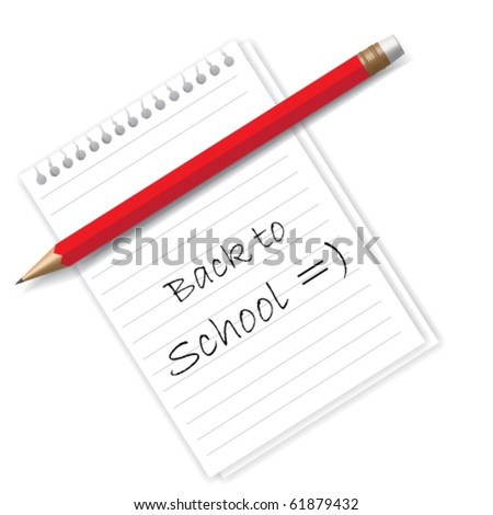 Back to school text on sheet of paper and red pencil - stock vector