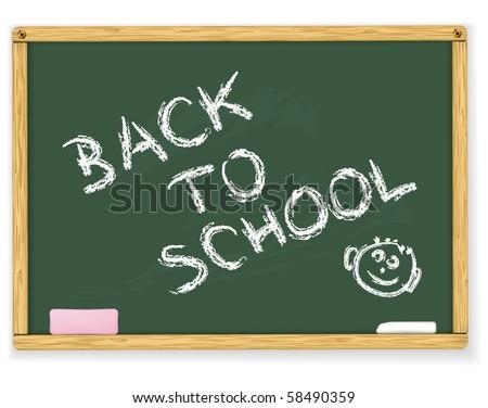 Back to school text on vector blackboard - stock vector