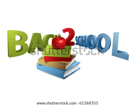 Back to school text with apple and books - stock vector