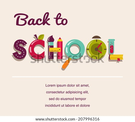 Back to school - text with cute education icons. Vector concept background - stock vector