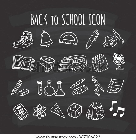 Back to school themed doodle icon on chalkboard background - stock vector