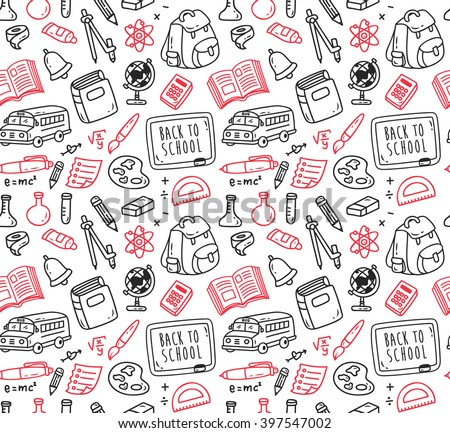 Back to school themed doodle seamless background - stock vector