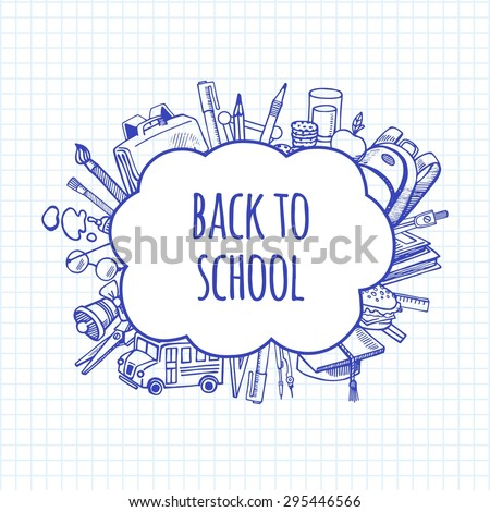 Back to school tools sketch bubbles vector design illustration. Background School. - stock vector