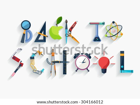 Back to school - typographic composition - Flat design - stock vector