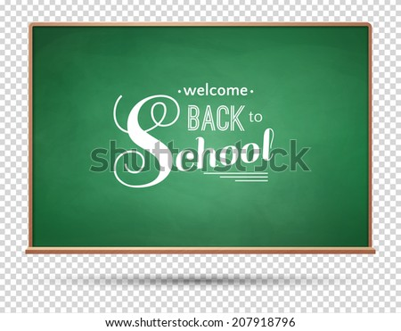 Back to school typographical design on green chalkboard. Vector illustration. - stock vector