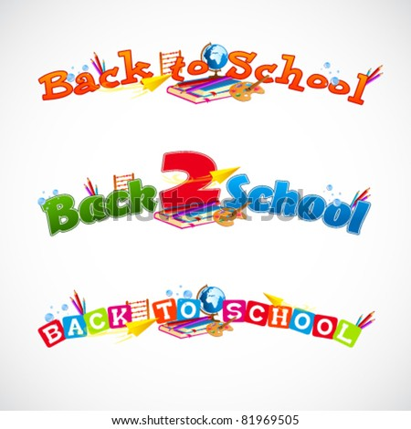 Back to school typography header collection 1 - stock vector