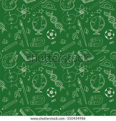 Back to school, various education objects on green blackboard, Seamless pattern, vector illustration - stock vector
