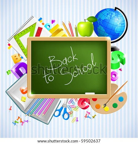 back to school vector background - stock vector