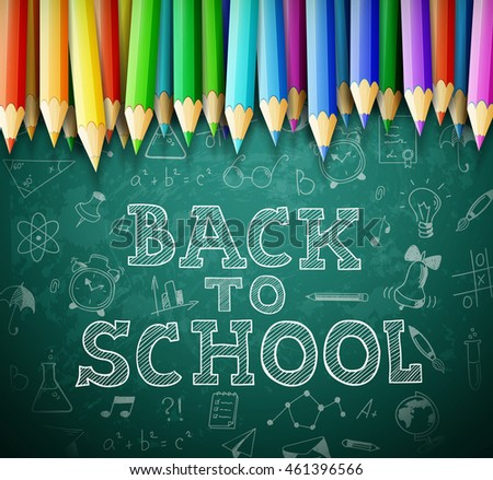 Back to school vector background with chalk board and pencils. eps10 illustration