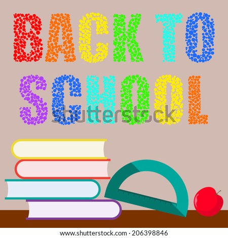 back to school vector cartoon background for use in design - stock vector