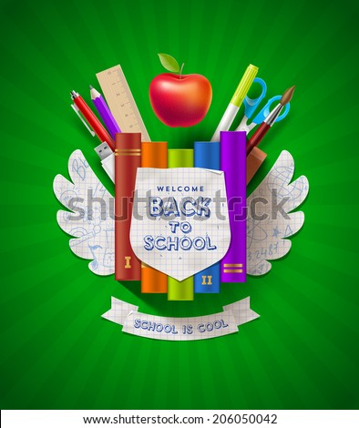 Back to school - vector coat of arms with stationery items - stock vector