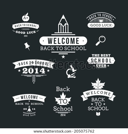 Back to School vector design elements. Retro style and vintage ornaments. Labels, badges, stamps and other designs. - stock vector